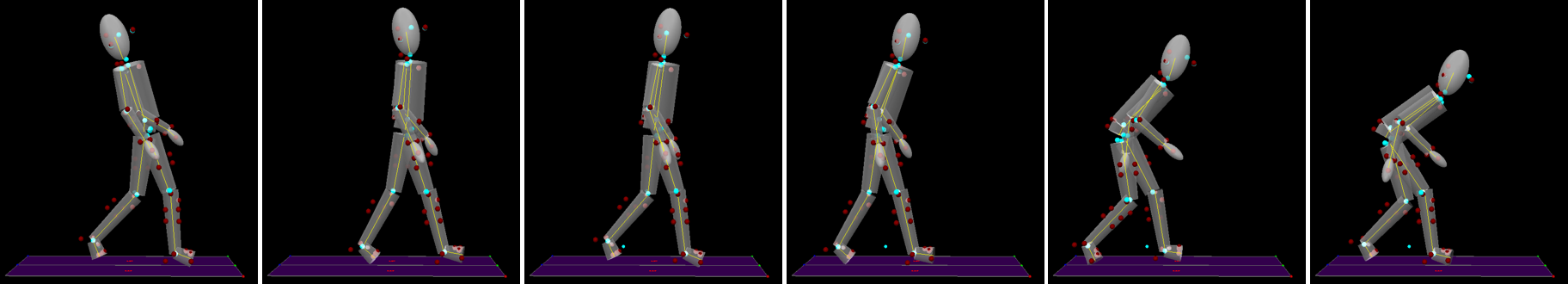 Several frames of motion capture showing a person leaning to different angles.