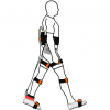 drawing of a person with a wearable mobile tendon tensiometer and lower-body inertial measurement units.